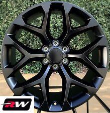 "20 inch Chevy Silverado 1500 OE Replica Snowflake Wheels Satin Black Rims 20 x9"""