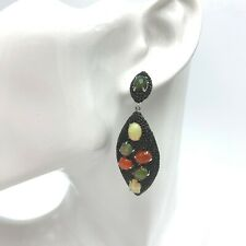 Carol Brodie Rarities Earring Ethiopian Fire Blue and Rainbow Opals Black Spinel