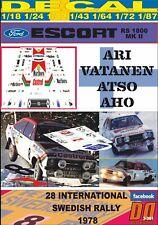 DECAL FORD ESCORT RS 1800 MK2 ARI VATANEN SWEDISH R. 1978 5th (06)