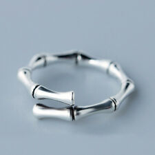 925 Silver Unique Handmade Bamboo Bone Open Finger Ring Women Christmas Jewelry