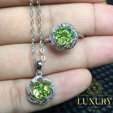 Natural Peridot Gemstone Real 925 Sterling Silver Fine Jewelry Set for Women