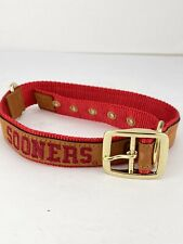"ZEP-PRO Red Nylon Leather Embroidered Pet Collar Oklahoma Sooners 2XL 25""-29"""