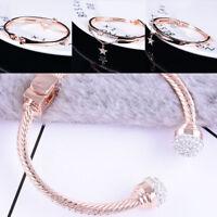 Fashion Rose Gold Plated Crystal Bracelet Round Bangle Jewelry Women Charm