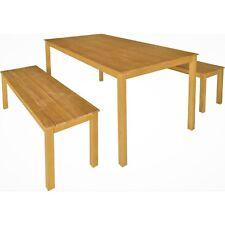 3pc Timber Outdoor Dining Table & Bench Seat Setting Hardwood Eucalyptus Natural