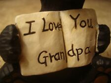 Black Bear Figurine I Love You Grandpa Faux Wood Carved Lodge Cabin Home Decor
