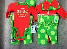 Girls infant 3 pc Christmas onsie pant hat, Dear Santa I've Been Good  0-3 month