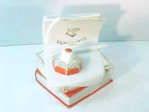 Vintage 1957 MOCKBA Russian Porcelain Books Inkwell