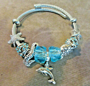 Sea Life Charm Bracelet w Aqua Beads, Rhinestones Silver Tone Adjustable