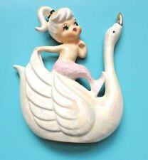More details for original vintage norcrest pink tailed mermaid riding a swan wall plaque