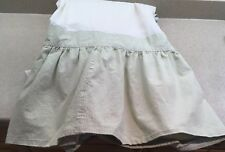 Custom Made King Bed Skirt Lined Green White Stripe French Country Mint