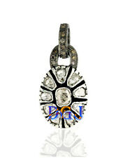 Cut Natural Diamond Antique Pendant 925 Sterling Silver Victorian Look Rose