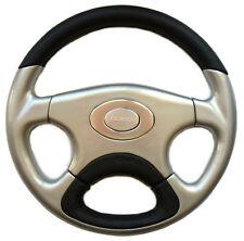 Boss Motorsport Sports Steering Wheel Black/Silver Leather 35cm 6 Hole Pattern