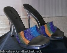 """TWO LIPS """"LUCITE SPIKED HEEL MULES"""" W/MULTI-COLOR GLITTER TOP, U.S. SZ. 9, NICE!"""