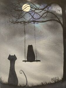 Original watercolour painting.  Swing time for the owl and pussycat.