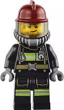 LEGO City Firefighter Minifigure Reflective Stripe Utility Belt Dark red helmet