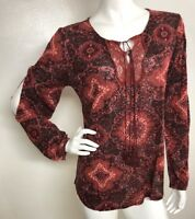 Lucky Brand Women's M Multi Color Print Lace Boho Peasant Top Blouse Shirt  NWT