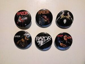 6 x RAZOR band buttons (thrash metal, evil invaders, pins, badges, heavy metal)