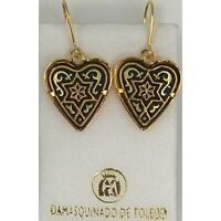 Damascene Gold Star of David Heart Drop Earrings by Midas of Toledo Spain 3193