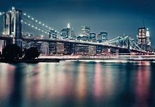Wall Mural NEON BROOKLYN BRIDG photo Wallpaper Large size wall art NEW YORK CITY