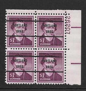 "RARE Mint NH PRECANCELED XF Plate Block Scott #1052a  ""PORTLAND OREG."" Style 71"