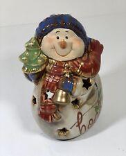"Kirklands Stoneware Christmas Snowman Tealight Holder 5.5"" HOPE #Christmas"