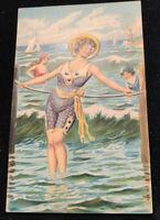 c1910 Bathing Beauty Embossed Unused Postcard