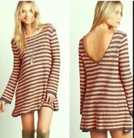 Free People Swing Sweater Dress Orange Gray Stripe Long Sleeve Size Small