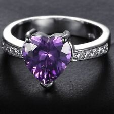 Handmade Natural 1.50ct Amethyst Size US 7 14K White Gold Ring CM91
