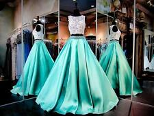 White & Mint Two Pieces Ball Gown Beaded Lace Party Evening Prom Pageant Dresses