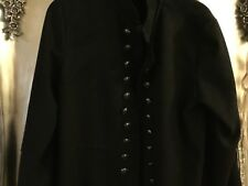 Made in Italy black 18 military style unlined coat  smart brass coloured buttons