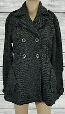 Billabong gray & black tweed wool winter coat peacoat juniors SZ L jacket