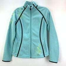 Eddie Bauer Womens Small Floral Embroidered Light Blue Jacket Stand Up Zip Long