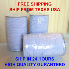 Braided Elastic Band Cord 1/8 inches 3mm White 10 yards to 109 Yards DIY Sewing