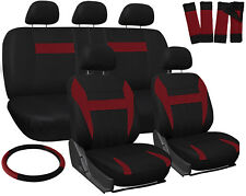 17pc Set Red Black Auto Car Seat Covers Steering Wheel-Belt Pads-Head Rests 1D
