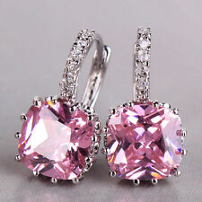 Sparkly 18K White Gold Filled Pink Square Earrings Made With Swarovski Crystals