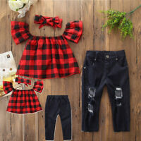 3Pcs Kids Girl Plaid LooseT-shirt+Denim Ripped Jeans+Headband Summer Casual 2-7Y