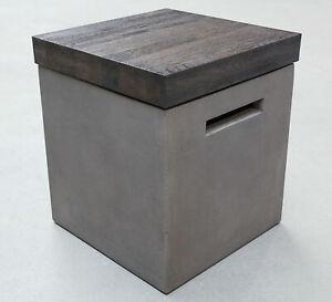 Beton Hocker 41 x 41 x 46 cm Beistelltisch Sitzhocker Holz Modern Aufbewahrung