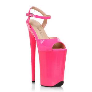 Ellie 909-JULIET Pink 9 inch Heel Stiletto Platform Sandal