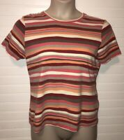 CARIBBEAN JOE Womens top SZ L striped short Sleeve Cotton Blend Top Shirt