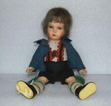 Antique 1930's German Original Regional Clothes Vtg Paper Mache Swiss Boy Doll