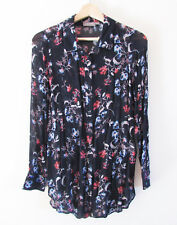 Sussan Sz 8 Navy Floral Sheer Chiffon Long Slv Collared Button Down Shirt Blouse
