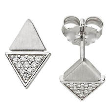 Ear Stud Earring Triangles with White Zirconia, 925 Silver Rhodium-Plated