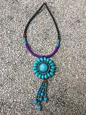 """Woman Vintage Jewelry Blue Turquoise Necklace 18"""" long"""