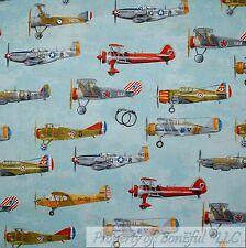 BonEful Fabric FQ Cotton Quilt Blue World War 2 USA VTG Navy Military Air*Plane