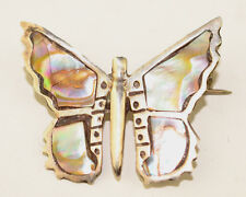 Butterfly Pin Signed Eagle 2 Vintage Small Mexican Sterling Silver Abalone