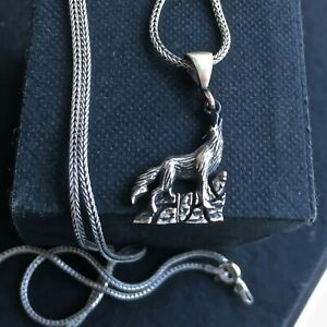 925 Sterling Silver Howling Wolf Pendant incl. Silver Chain Handmade Jewelry