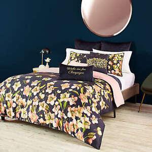 Ted Baker London Arboretum Reversible Twin Size 3Piece Comforter Set Navy Floral
