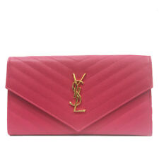 SAINT YSL Monogram Grande Pink Leather Document Holder Clutch Wallet 358087
