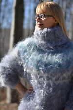 DUKYANA Hand Knitted Icelandic Mohair Sweater Fuzzy Tneck jumper Nordic Pullover