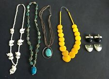 Vintage Jewelry Lot Chunky Banana Yellow Necklace Scarab Necklace & More